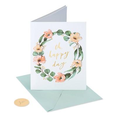 Card Wedding Floral Watercolor Wreath - PAPYRUS
