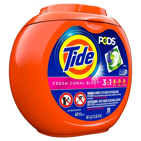 Tide PODS Laundry Detergent Pacs Fresh Coral Blast - 42ct - image 1 of 3