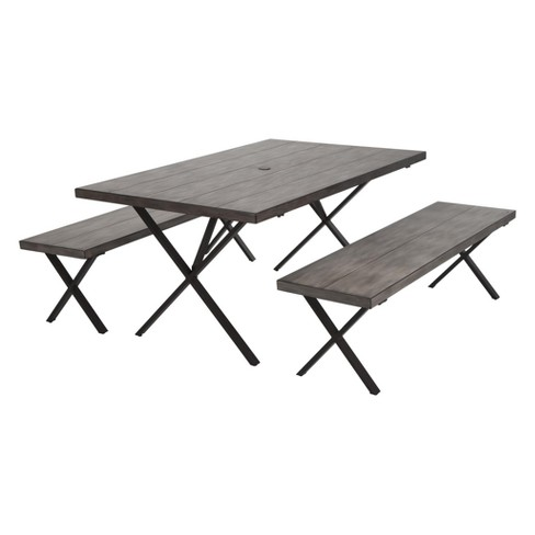 Homestead 3pc Rectangle Aluminum Table & Benches - Rustic Dark Brown - Cosco Outdoor Living - image 1 of 8
