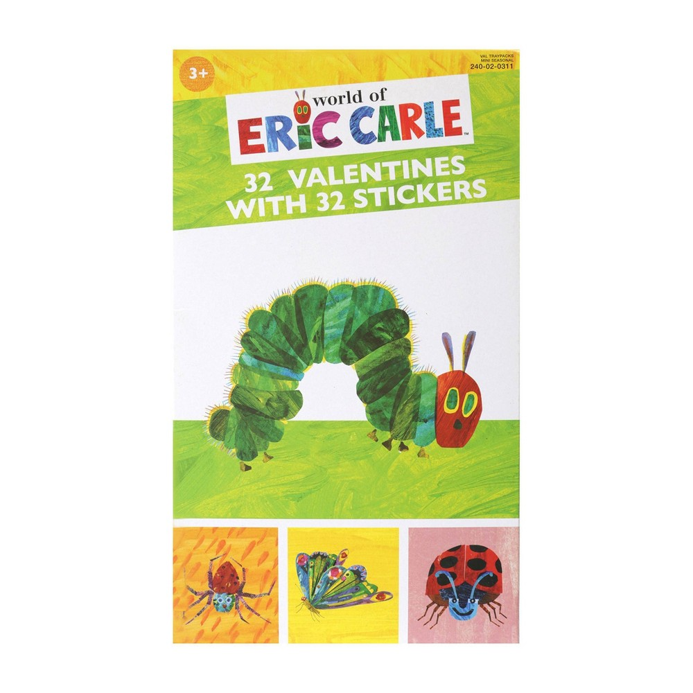 Image of Eric Carle 32ct Deluxe Hungry Caterpillar Valentines With Stickers