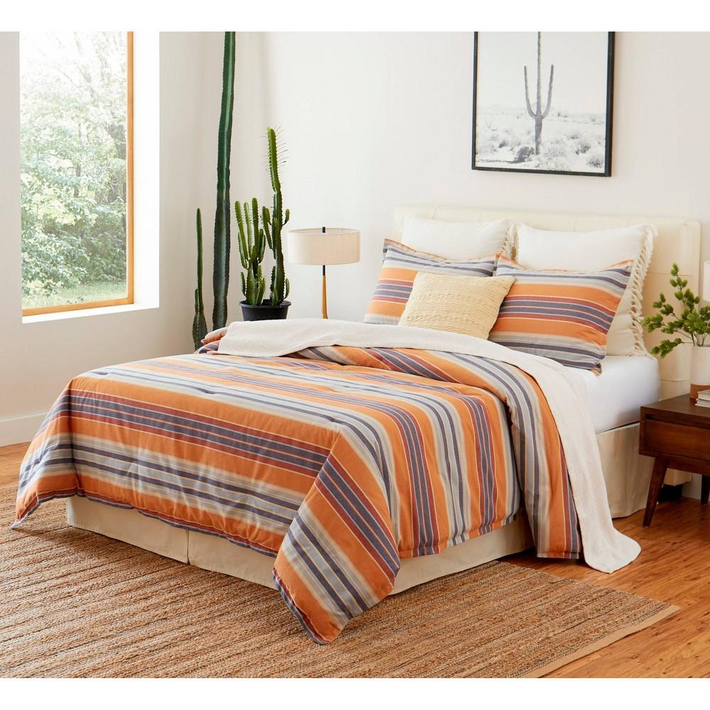 Queen 4pc Casa Luis Comforter Set Navy Stripe Tommy Bahama