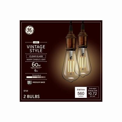 Vintage Aline ST19 60w Filament Clear 2pk LED Light Bulb White - General Electric