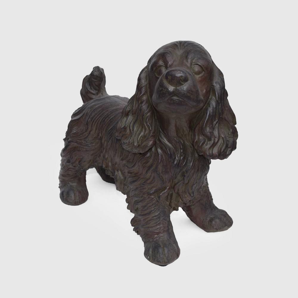 "Image of ""14.5"""" Cast Stone Josie Cocker Spaniel Dog Garden Statue Brown - Christopher Knight Home"""