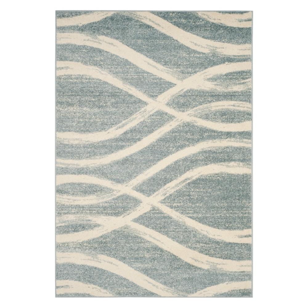 6'X9' Wave Area Rug Cream/Slate - Safavieh, Gray Off-White