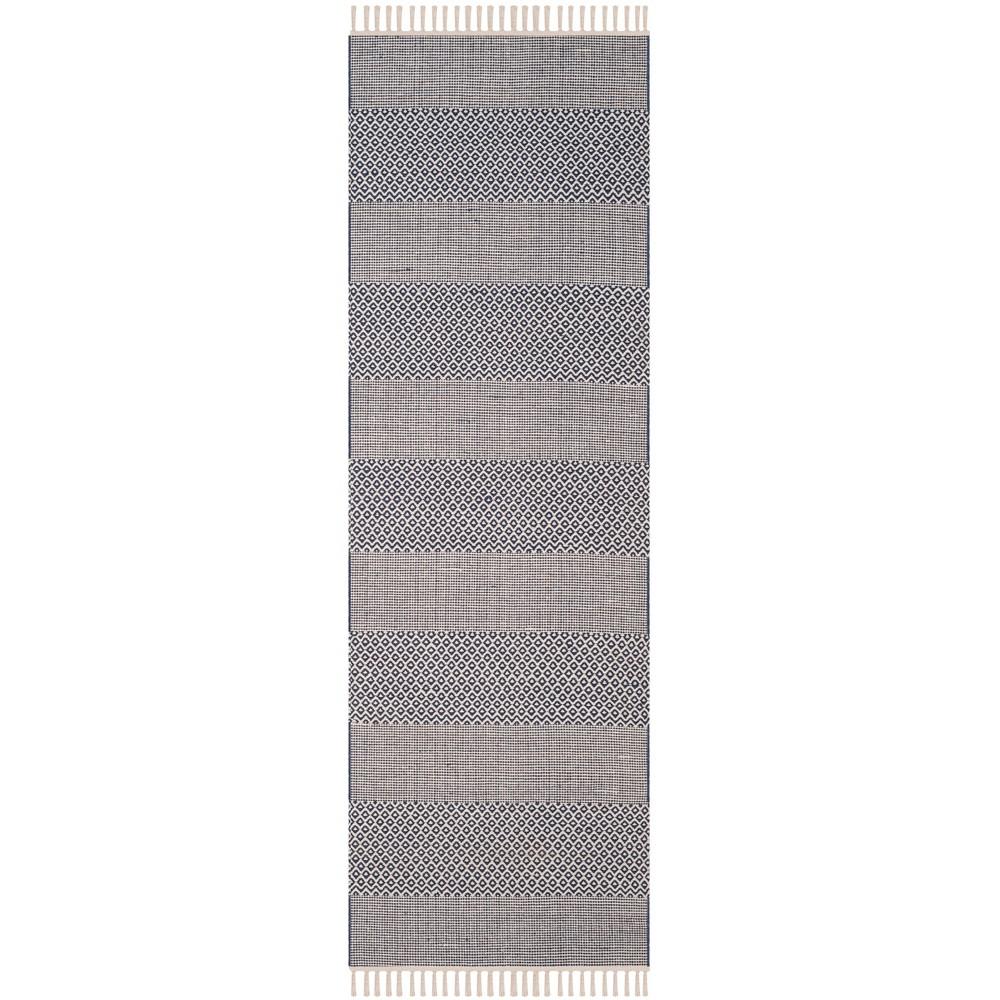 2'3X12' Stripe Woven Runner Rug Ivory/Navy (Ivory/Blue) - Safavieh