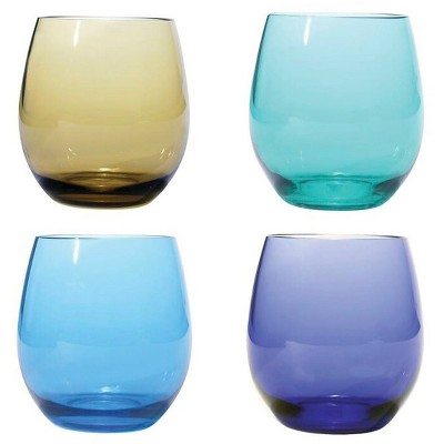 Plastic BPA Free Stemless, Jeweltones, 18oz Set of 4