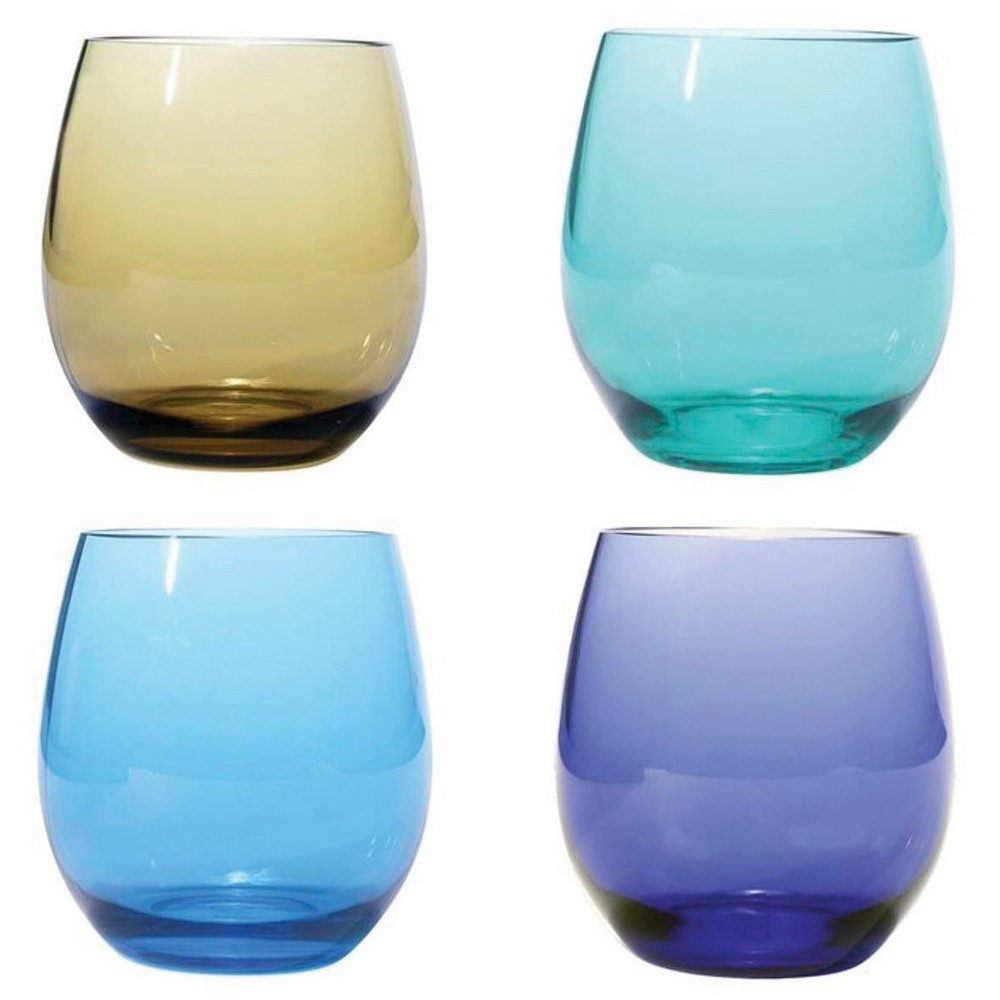 Image of Plastic BPA Free Stemless, Jeweltones, 18oz Set of 4, Clear