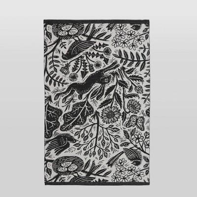 4'x6' Woodland Outdoor Rug Black - Threshold™
