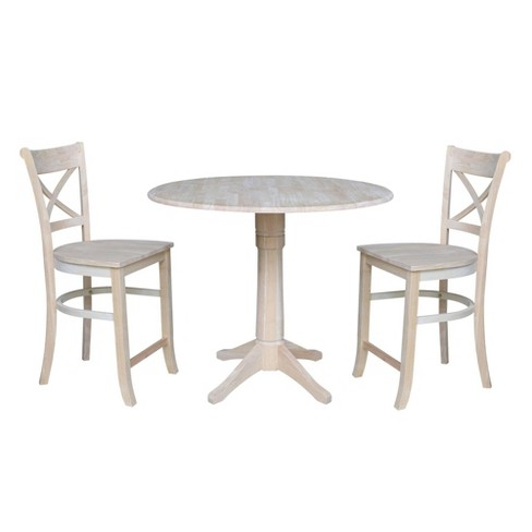"""36.3"""" Leonard Round Counter Height Table with Two Charlotte Stools Blue - International Concepts - image 1 of 4"""