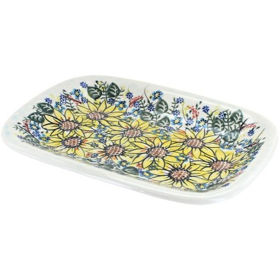 Blue Rose Polish Pottery Sunflower Maze Small Rectangular Platter