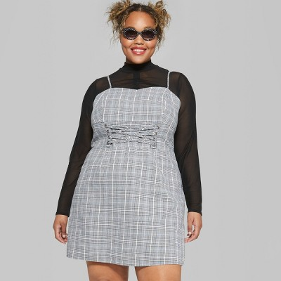 0384533660 Womens Plus Size Plaid Strappy Lace-Up Waist Woven Dress - Wild Fable™ Gray