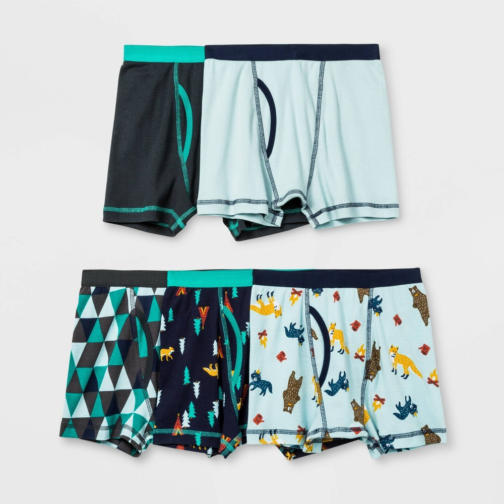Image of Boys' 4 + 1 Bonus Pack Wood Critters Boxer Briefs - Cat & Jack Green S, Boy's, Size: Small
