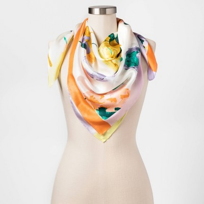 Women's Floral Print Silk Square Scarf - A New Day™ Cream  One Size