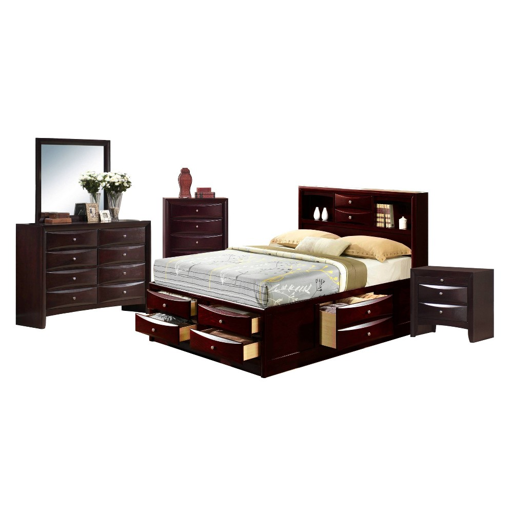 5pc Queen Madison Storage Bedroom Set Espresso Brown - Picket House Furnishings