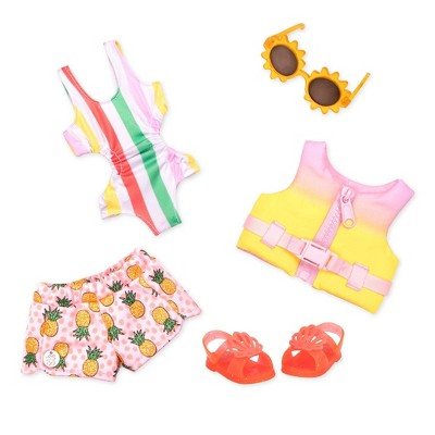 """Glitter Girls Bright as the Sun Swimsuit & Life Jacket Outfit for 14"""" Dolls"""
