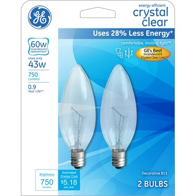 GE 60-Watt CAM Energy Efficient Halogen Chandelier Light Bulb (2-Pack)- Soft White
