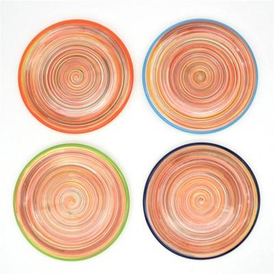 """8"""" 4pk Ceramic Raia Assorted Salad Plates Orange - Euro Ceramica"""