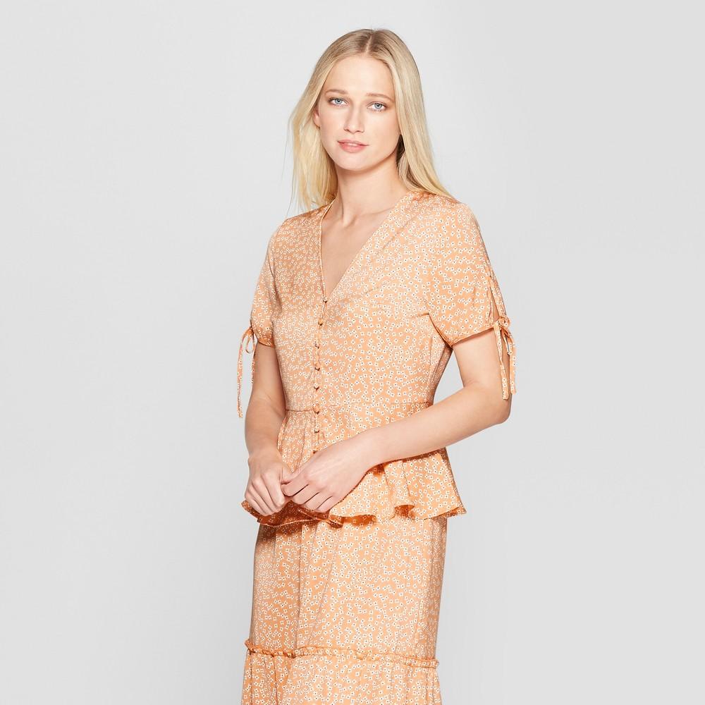 Women's Floral Print Short Tie Sleeve Button Detail Peplum Top - Who What Wear Orange S