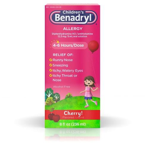 Children's Benadryl Allergy Relief Liquid - Cherry - Diphenhydramine - 8 fl oz - image 1 of 4