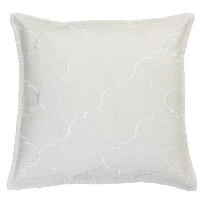 Ava Whipstitch Embroidered Square Throw Pillow White - Decor Therapy