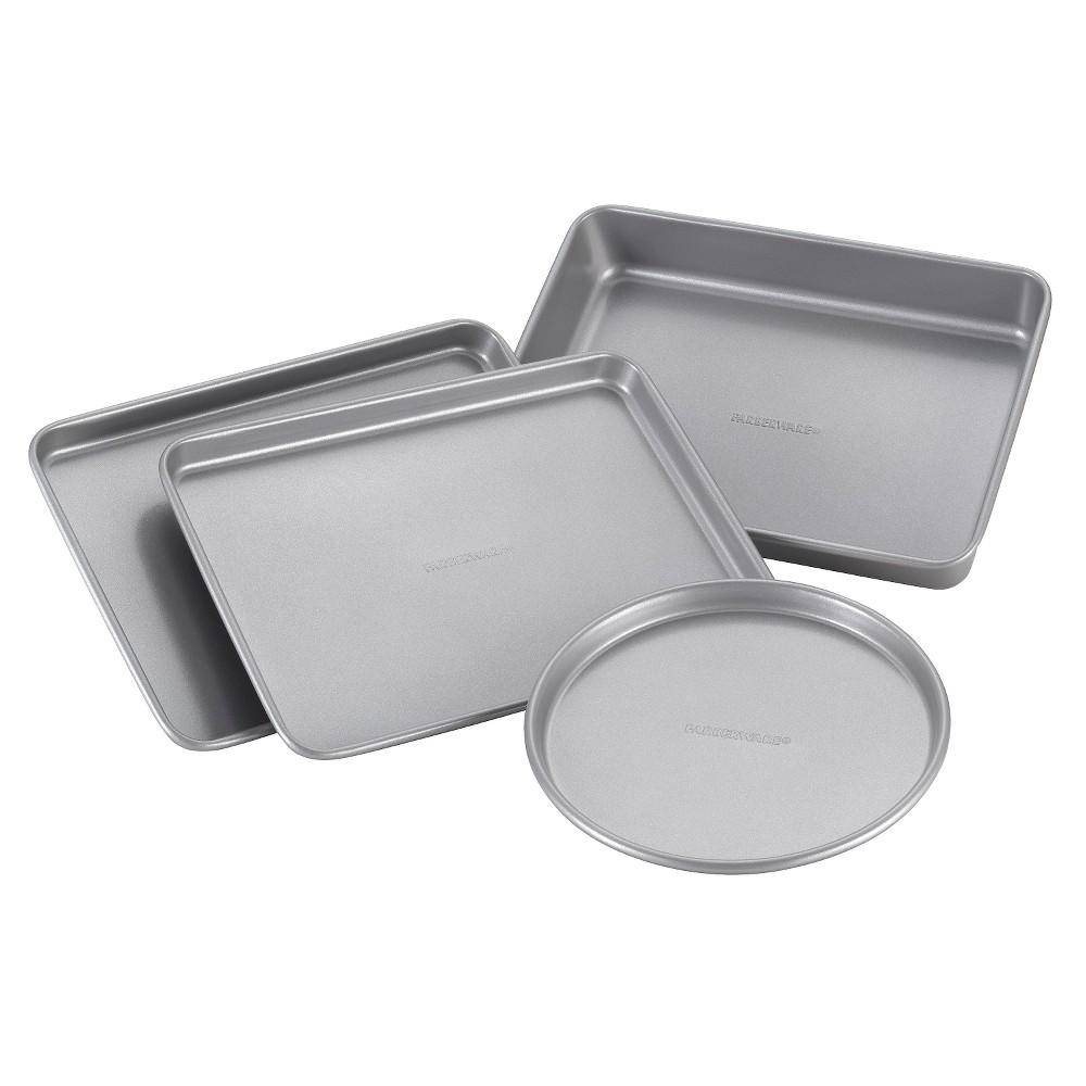 Farberware Nonstick Bakeware 4 Piece Toaster Oven Set, Silver