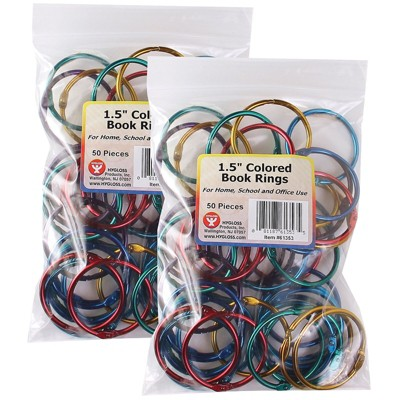 """Hygloss Book Rings 1-1/2"""" Capacity Assorted Metallics 50 Per Pack 2 Packs HYG61353-2"""