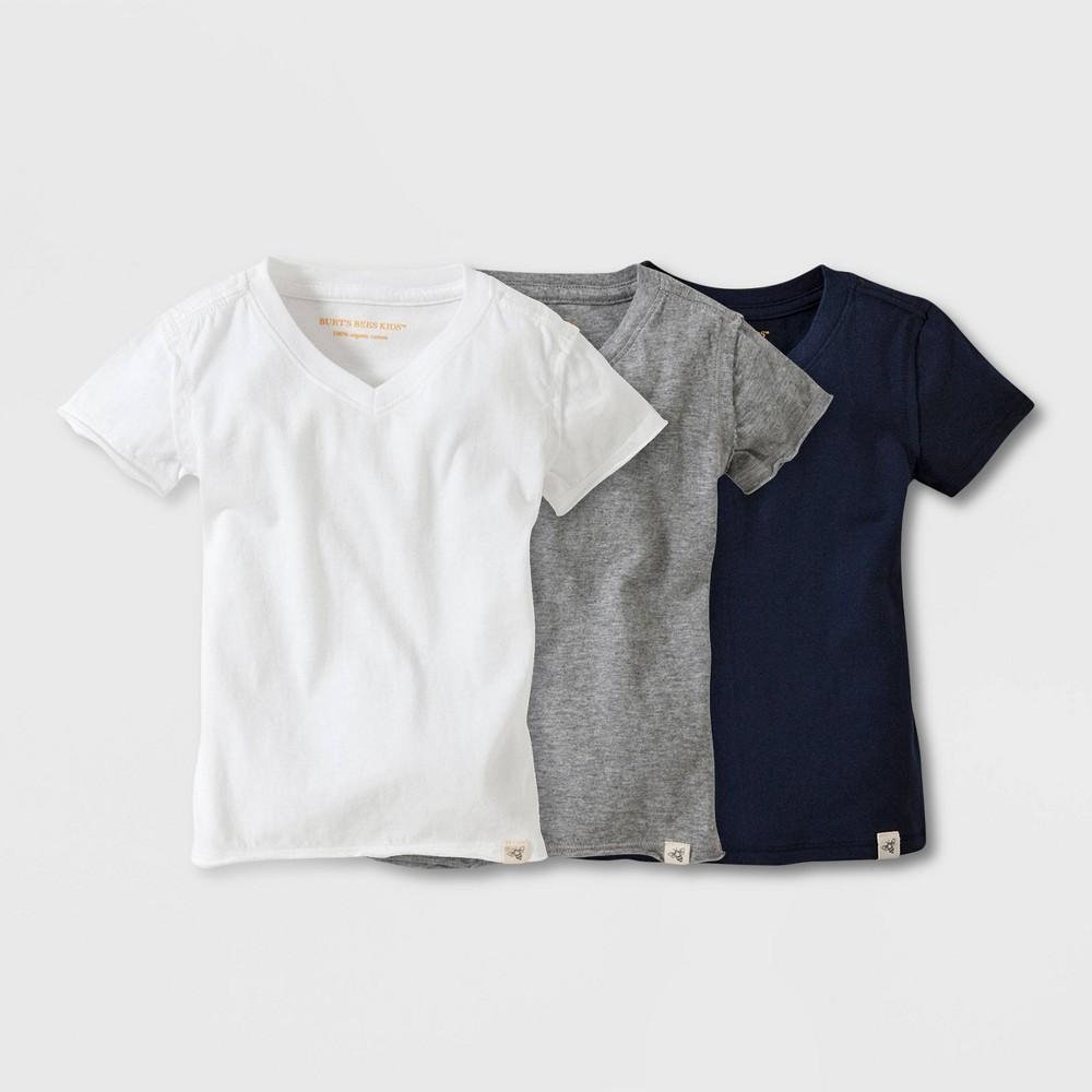 Image of petiteBurt's Bees Baby Toddler 3pk Short Sleeve Reverse Seam V-Neck T-Shirt - White/Gray/Blue 2, Kids Unisex, Blue/Gray/White