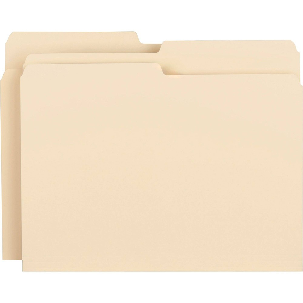 Image of Business Source 100ct 1/2 Cut 2-Ply Top Tab File Folders, Brown