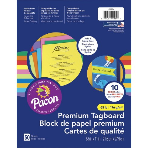 Pacon Premium Tagboard, 8-1/2 x 11 Inches, 10 Color Bright Assortment, 50 Sheets - image 1 of 3