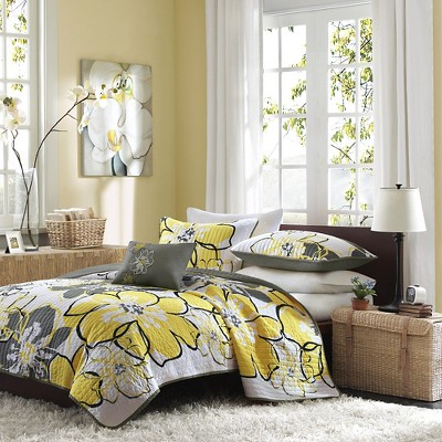 Kelly Floral Coverlet Set (Twin/Twin Extra Long)Yellow&Gray - 3pc