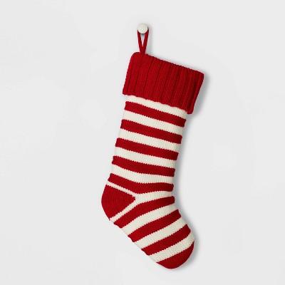 Stripe Knit Christmas Stocking Red & White - Wondershop™
