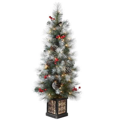 4ft National Tree Company Snowy Glacier Pine Entrance Tree in Black/Silver Rectangular Pot with 100 Clear Lights