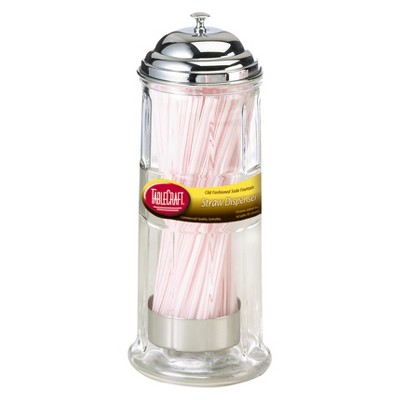 TableCraft Glass Straw Dispenser - Chrome Plated Top