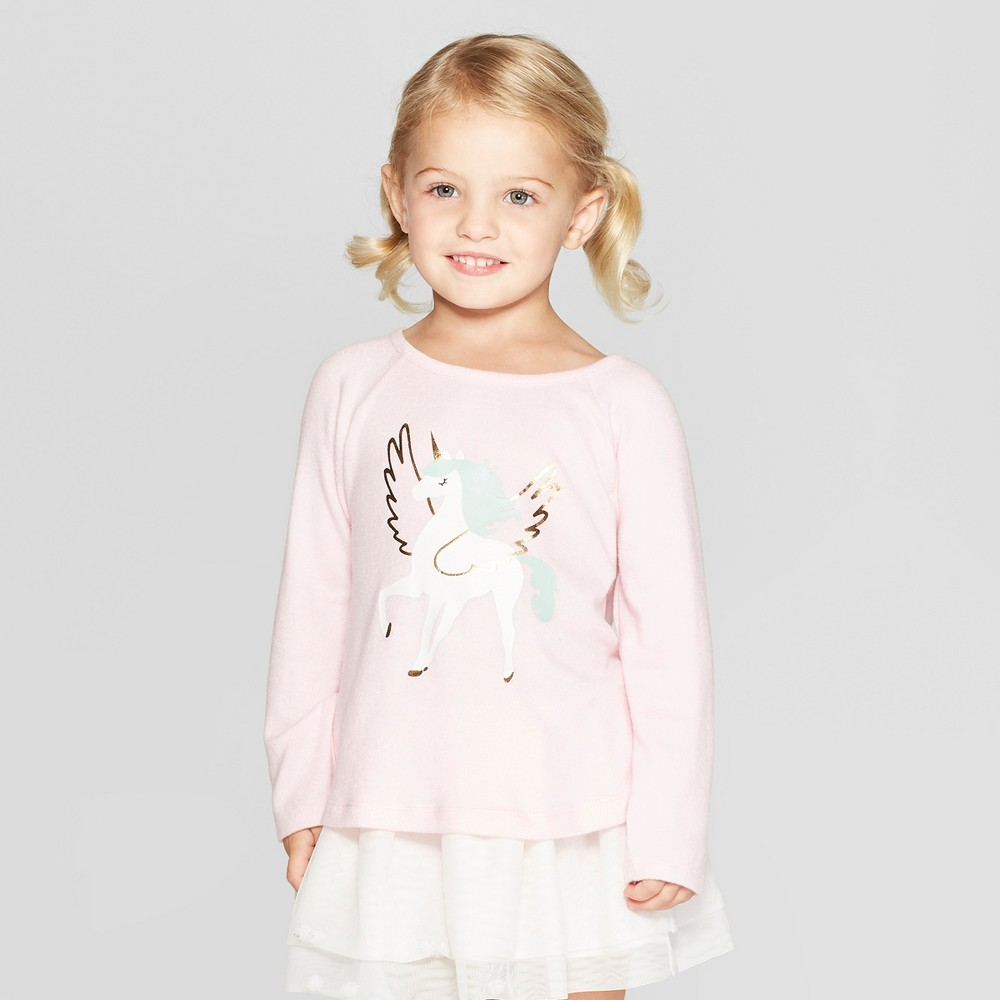 Toddler Girls' Long Sleeve Unicorn T-Shirt - Cat & Jack Pink 12M