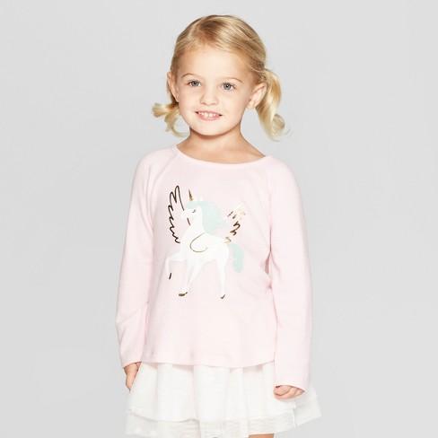 3ddd6daa0 Toddler Girls' Long Sleeve Unicorn T-Shirt - Cat & Jack™ Pink : Target