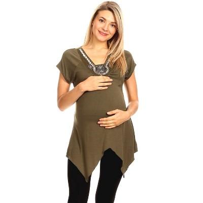 Maternity Myla Embellished Tunic Top - White Mark