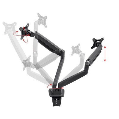 Monoprice Smooth Full Motion Dual Monitor Adjustable Gas Spring Desk Mount - Black, Supports Up to 34 Inch Monitors, Max 19.8 LBS Weight Per Display