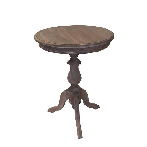 Allura Pedestal Round End Table Vintage Wash Brown - East At Main - image 1 of 4