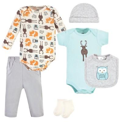 Hudson Baby Infant Unisex Cotton Layette Set, Moose