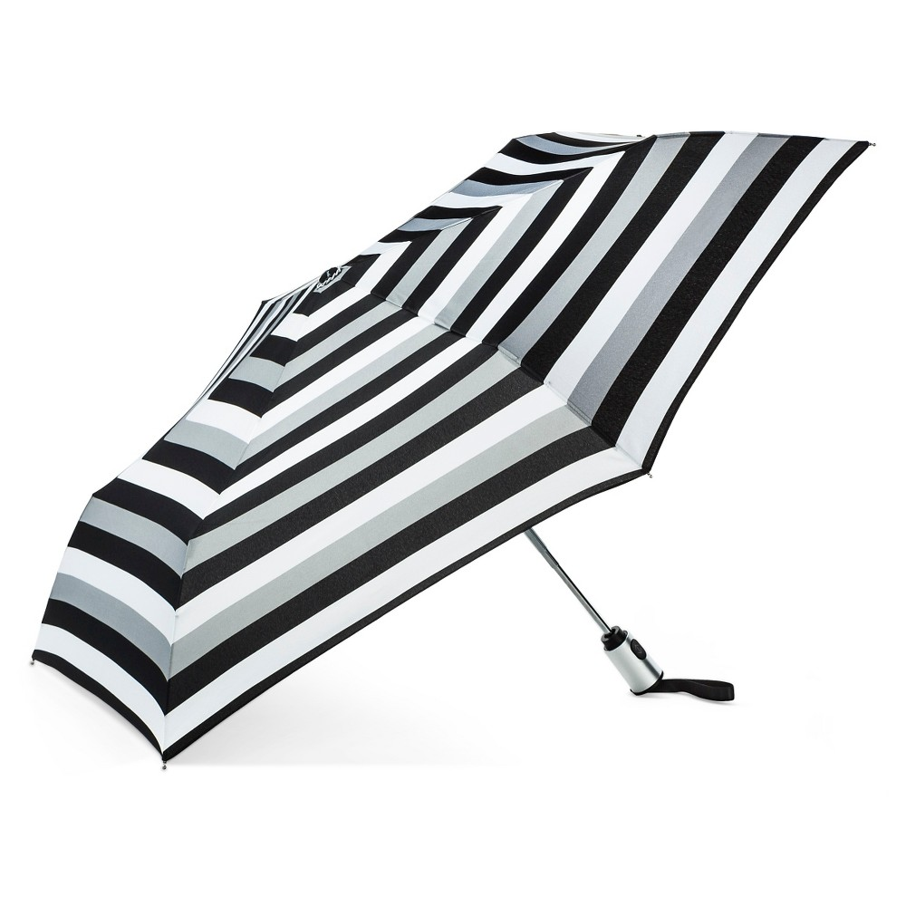 ShedRain Auto Open/Close Compact Umbrella - Black Stripe, Gray