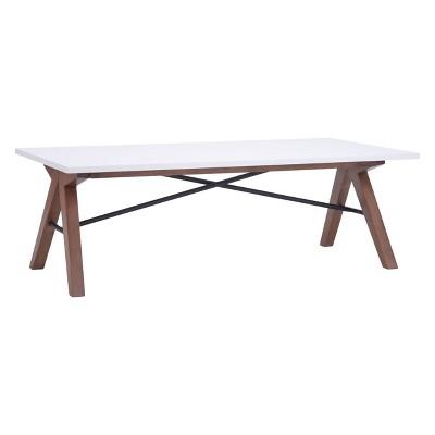 "Saw-Horse Style Mid-Century Modern 47"" Rectangular Coffee Table - Walnut/Black/White - ZM Home"