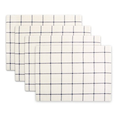 4pk Cotton Window Pane Placemats Blue - Town & Country Living