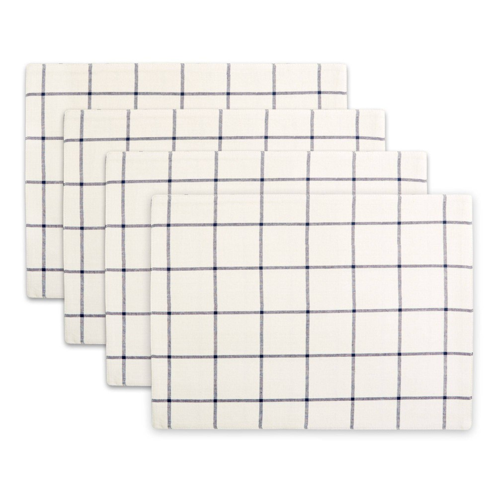 Image of 4pk Cotton Window Pane Placemats Blue - Town & Country Living