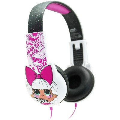 L.O.L. Surprise! Kid-Safe Headphones and Sticker Sheet in Pink and Black