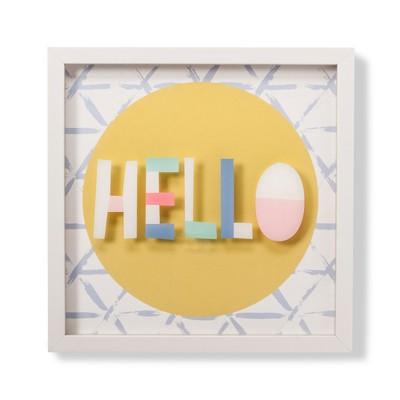 Screened Glass Shadowbox Hello (14 x14)- Cloud Island™