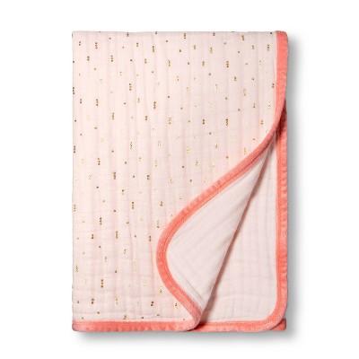Muslin Quilt Blanket Pink + Foil Dots - Cloud Island™ Pink