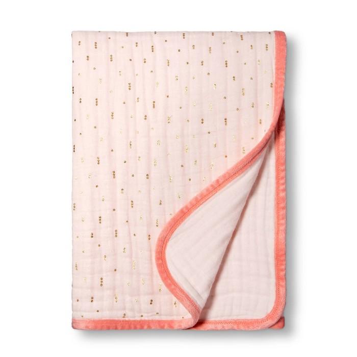 Muslin Quilt Blanket Pink + Foil Dots - Cloud Island™ Pink - image 1 of 2