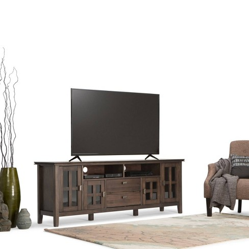 Stratford Solid Wood 72 Inch Tv Media Stand Natural Aged Brown For
