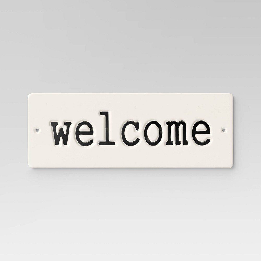 "Image of ""14"""" Aluminum Rectangular Welcome Sign White - Smith & Hawken"""
