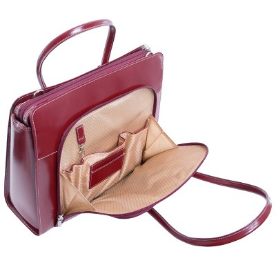 'McKlein Lake Forest 15'' Leather Ladies' Laptop Briefcase (Red), Women's, Size: Small, Green/Blue/Red'